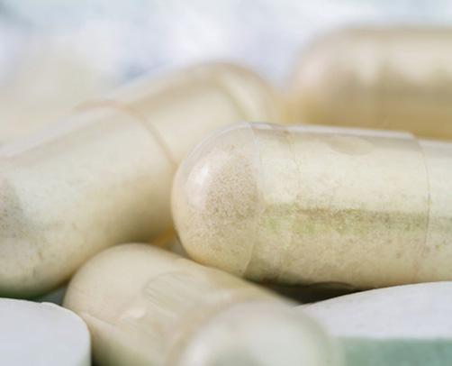 Nahaufnahme eines Nahrungsergänzungsmittels in Pillenform