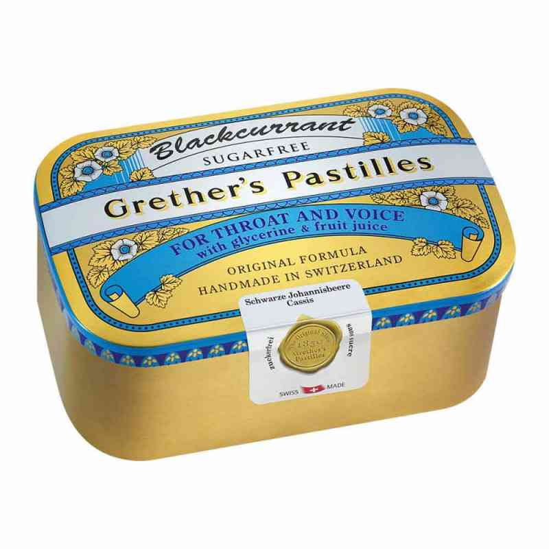 Grethers Blackcurrant Silber Pastillen zuckerfrei Dose  bei juvalis.de bestellen
