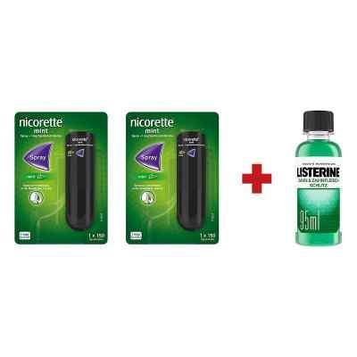 2 x Nicorette Spray +Listerine Zahn-& Zahnfleisch Schutz Lösung  bei juvalis.de bestellen